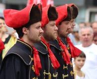 Zagreb turist- dragning/kravattregemente/arrangera i rak linje Royaltyfri Foto