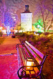 Zagreb upper town advent market in park. Capital of Croatia Royalty Free Stock Photo