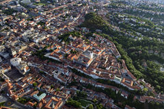 Zagreb Upper Town from air. Historic Upper Town of Zagreb, Croatia, with St. Marks Church at the center. Aerial view Royalty Free Stock Photography
