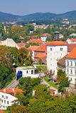 Zagreb upper town cable car. Vertical view, Croatia Stock Photography