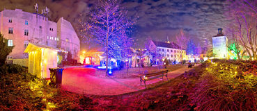 Zagreb upper town christmas market. Evening panorama, historic architecture of capital of Croatia Royalty Free Stock Photography