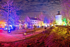 Zagreb upper town christmas market evening view. Historic architecture of capital of Croatia Stock Images