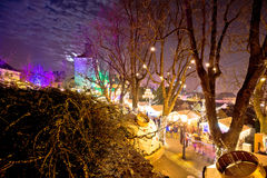 Zagreb upper town christmas market evening view. Historic architecture of capital of Croatia Royalty Free Stock Images