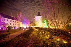 Zagreb upper town christmas market evening view Stock Images
