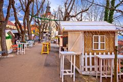 Zagreb upper town Christmas market street view. Advent in capital of Croatia Stock Photo