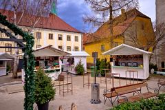 Zagreb upper town Christmas market street view. Advent in capital of Croatia Stock Images