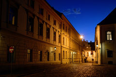 Zagreb Upper Town cobblestone street at dusk Royalty Free Stock Images