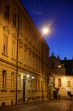 Zagreb Upper Town cobblestone street at dusk. With bright Venus shining in the sky Stock Images