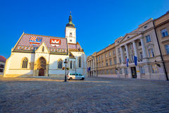 Zagreb upper town landmarks view. Saint Mark cathedral and Croatian Parliament view, capital of Croatia Stock Photography