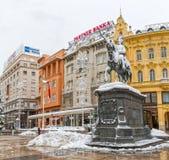 Zagreb-verschneiter Winter Stockfotografie