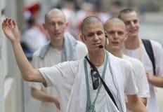 Zagreb Wielokulturowy miasto, Zajęczy Krishna zwolenników Śpiewać/ Obraz Royalty Free