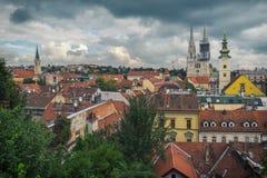 Zagreb y nubes Foto de archivo libre de regalías