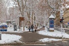 Zagreb Zrinjevac en la nieve Fotografía de archivo libre de regalías