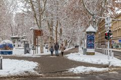 Zagreb Zrinjevac in the snow Royalty Free Stock Photography