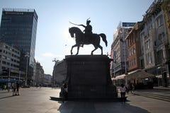 Zagrebs Hauptplatz mit Jelacics Monument, Kroatien, Europa Stockfoto