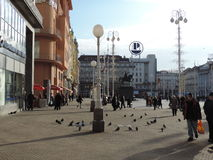 Zagrebs huvudsaklig fyrkant arkivfoto