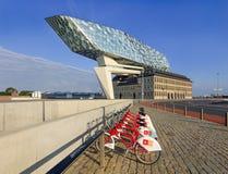 Zaha Hadid-ontwerp, Haven van het hoofdkwartier van Antwerpen bij dageraad, Antwerpen, België Stock Fotografie
