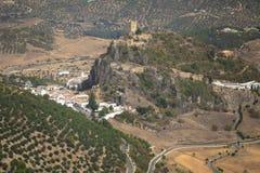 Zahara de la serra castelo, diz do ¡ de CÃ, AndalucÃa, Espanha Fotografia de Stock Royalty Free