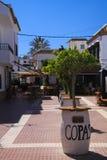ZAHARA DE LOS ATUNES COSTA DE LA LUZ, SPAIN - JUNE, 19. 2016: Pedestrian area in city center with bars and restaurants stock photo