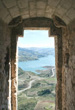 Zahara view from the window of a castle. Lake located in the town of Zahara de la Sierra in the Spanish province of Cadiz, is the coast and mountain scenery in Stock Image