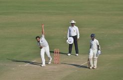 Zahir Khan Bowling in a Cricket Match Stock Photography