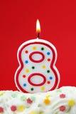 Zahl acht-Geburtstag-Kerze Stockbilder