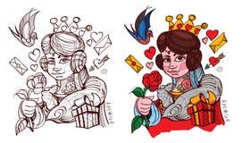Zahl Charakter Die junge Dame mit dem Symbol der Herzklage Königin der Plattform der Spielkarten stock abbildung