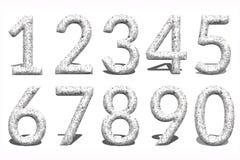 Zahl 3d von 0 bis 9 im Steinhintergrund Lizenzfreie Stockfotos