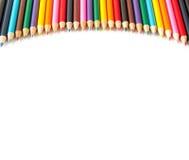 Zahl der Zeichenstifte gestapelt entlang dem Lichtbogen Stockfotografie