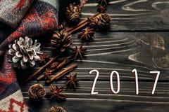 Zahl des neuen Jahres des Zeichens mit 2017 Texten auf stilvollem rustikalem Winter oder autu Lizenzfreies Stockbild