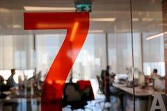 Zahl des Rot-sieben Stockfotos