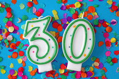 Zahl dreißig-Geburtstag-Kerze Stockfotografie