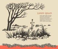 Zahl einsame Weide mit Grabkreuz darunterliegend Stockfotos