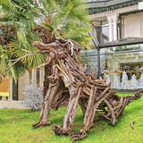 Zahl gemacht vom Baumstumpf in Evian-les-Bains in Frankreich im neuen Jahr Stockfotografie