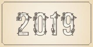 Zahl2019-jähriges kopiert mit den Blumenformen, lokalisiert auf Weiß 2019 für verzieren Kalender, Fahne, Plakat, Einladung stock abbildung