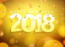 Zahl mit 2018 Grußkarten-Konfettis des neuen Jahres Gold Feiertagsweihnachtsdekoration 2018 Fahnen-Kartendesign des neuen Jahres  vektor abbildung