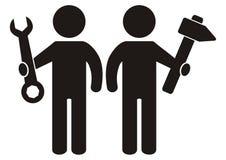 Zahl zwei mit Werkzeug, Schlüssel und Hammer, schwarzes Schattenbild, Vektorikone lizenzfreie abbildung