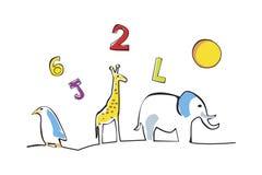 Zahlbuchstabe und Tierillustration stockfotografie