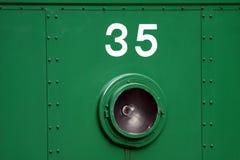 Zahlen auf dem Zug stockfoto