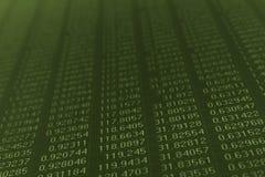 Zahlen auf einem Computerüberwachungsgerät Stockbild