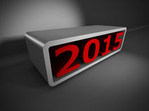 Zahlen 3d des Rotes 2015 auf dunklem Hintergrund Stockfotos