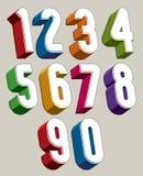 Zahlen 3d eingestellt gemacht mit runden Formen Stockfoto