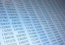 Zahlen in der Tabelle Stockfotografie