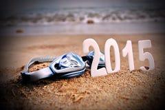 2015 Zahlen des neuen Jahres auf dem Seestrand Lizenzfreies Stockfoto