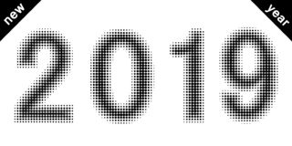 2019 Zahlen des neuen Jahres datieren Halbtonart, vector 2019 Halbtoneffektzahlen punktierter Guss stockbild