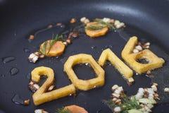 Zahlen des neuen Jahres in Wanne Lizenzfreie Stockbilder