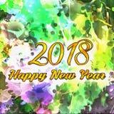 Zahlen des Zeichnungs-Aquarell-2018 Stockfotografie