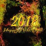 Zahlen des Zeichnungs-Aquarell-2018 Stockbilder