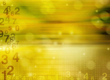 Zahlen, die über widergespiegelten Hintergrund schwimmen Lizenzfreies Stockfoto