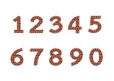 Zahlen eingestellt in Illustration, reine Zahl Stockbilder